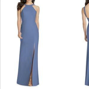 Dressy Larkspur cutaway shoulder crepe gown
